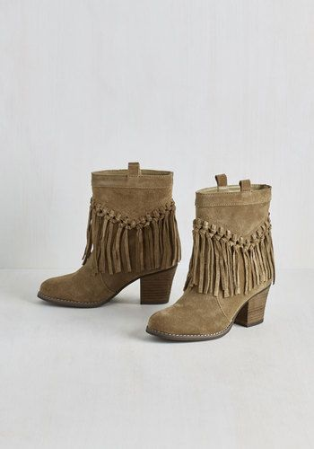 Flow Through the Motions Bootie - Mid, Tan, Solid, Fringed, Casual, Boho, Safari, Festival, Better, Chunky heel, Ankle, Leather