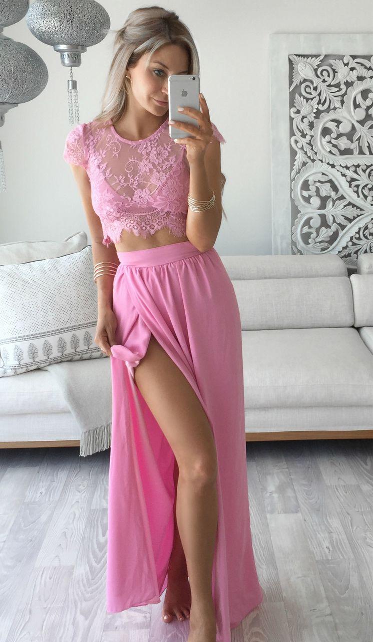 Pink hue chiffon lace long prom dress two sets long prom dress