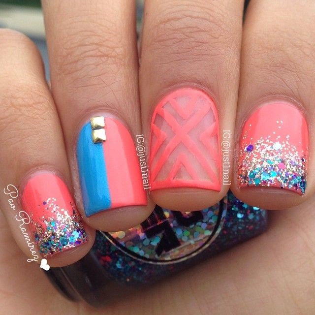 Coral blue and glitter nails ===>> Nail art supply store: https ...