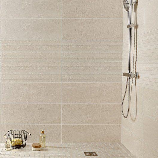 Carrelage mural milano premium en faience beige 24 x 69 for Carrelage toilette mural