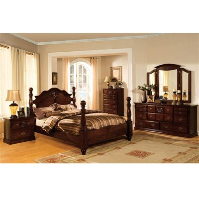 Classic Poster Bed Queen 4 PC Set w Antique Gold Handles Glassy