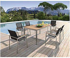 Tavolo outdoor in acciaio e textilene con 6 sedie Hoover