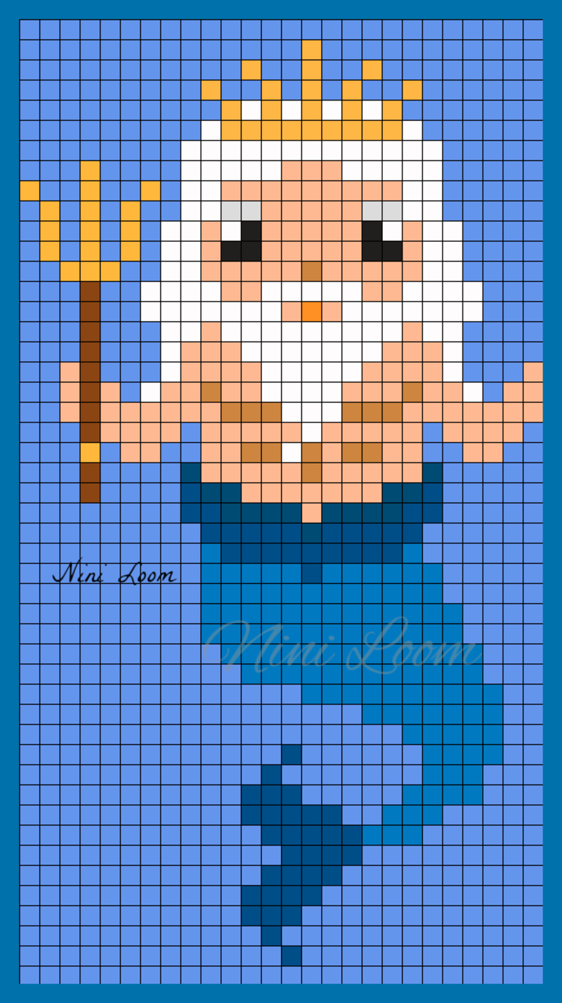 Poséidon Pixel Art Facile Pixel Art Personnage Et Sirène
