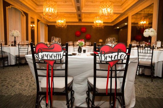 Wedding Chair Signs Cut Paper Red Black White by MinksPaperie