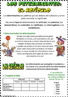 Los Determinantes El Artículo Idioma Español O Castellano Curso Nivel 5º De Primaria 6º D Apuntes De Lengua Cuaderno De Gramática Ejercicios De Gramatica