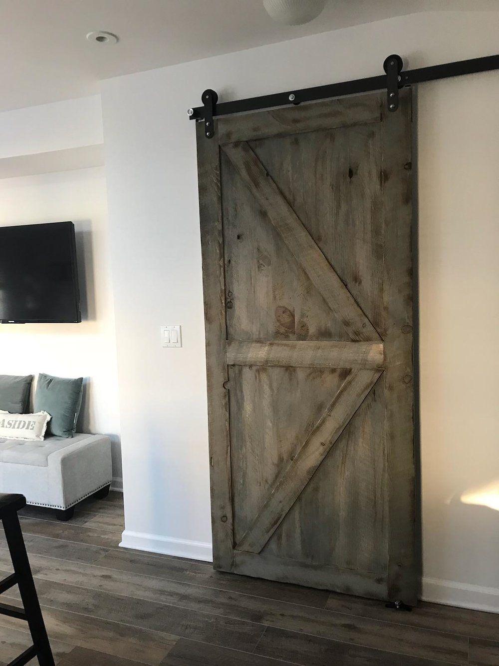 Rustic Barn Door Weathered Gray Color Toms River Nj Custom Barn Doors Barn Door Indoor Barn Doors
