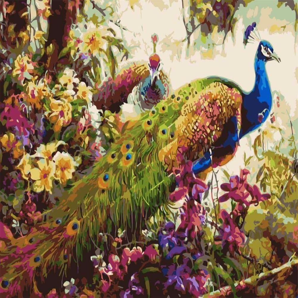 2017 diy peacock oil painting by numbers frameless digital