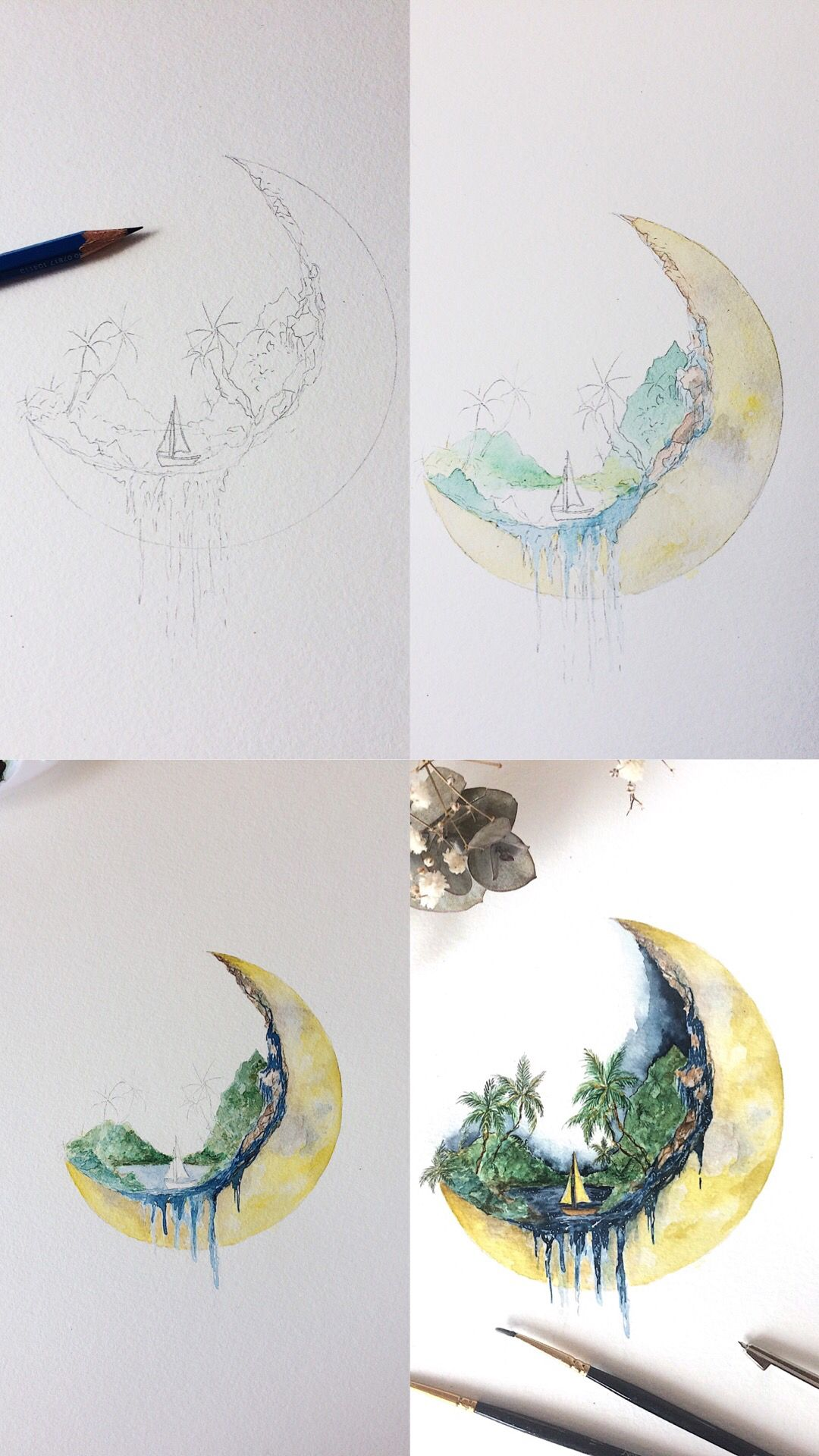 Watercolor Tropical Crescent Moon Painting Process Photos