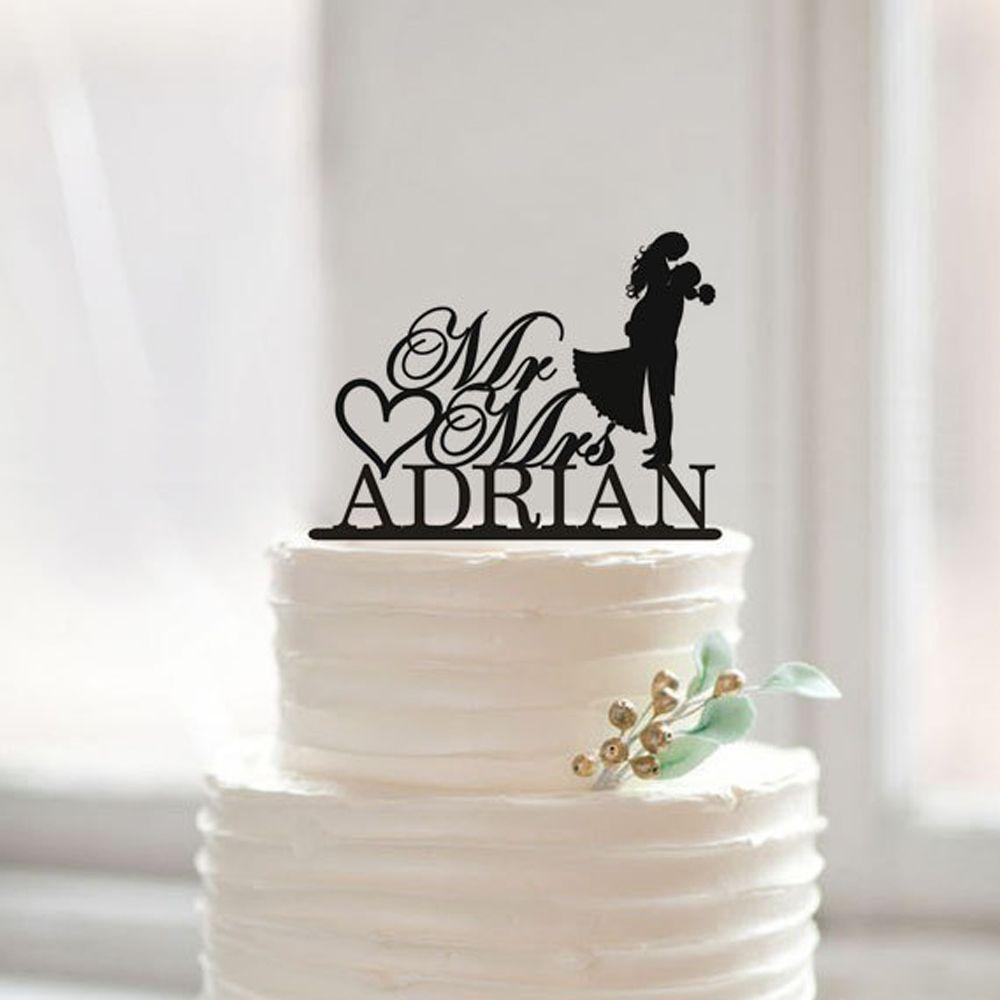 Modern wedding cake topper with last namemr and mrs cake topper