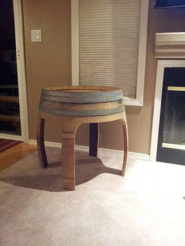 Wine Barrel End Table by ReFurnishings on Etsy $199 00