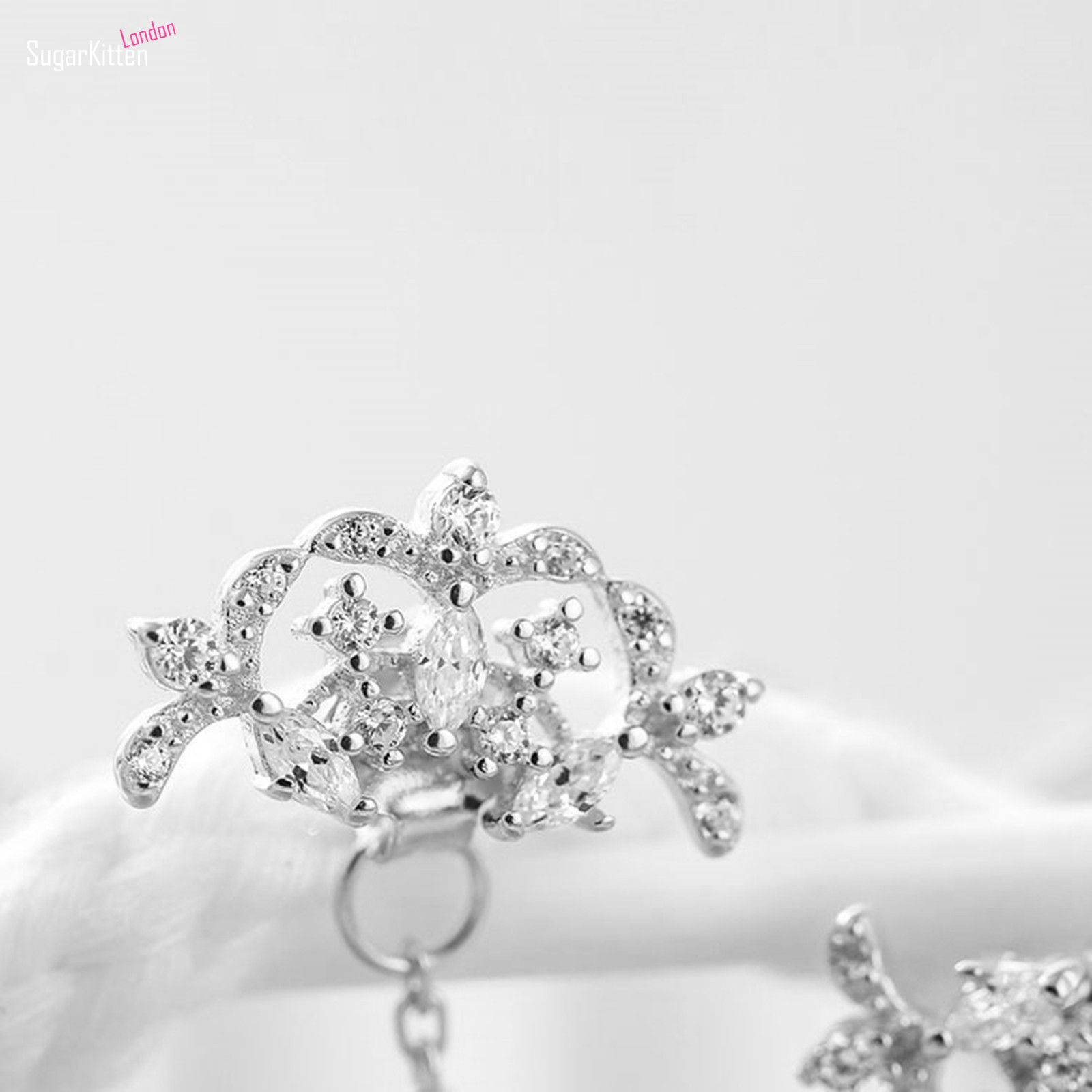 Details about New Unique 925 Sterling Silver CZ Trinity Iris Flower
