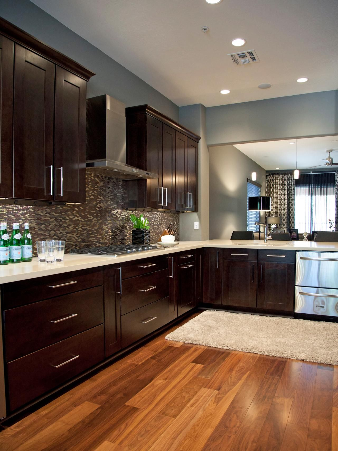 Fresh Walnut Color Kitchen Cabinets