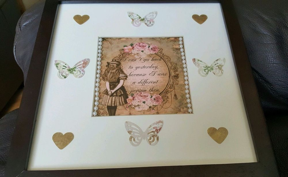 Alice in Wonderland framed picture quote with 3d butterfly handmade ...