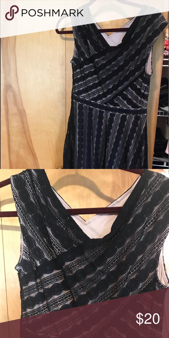 d572670915d57 Black and cream cocktail dress Black lace overlay. V neck. Very flattering.  signature harper Dresses