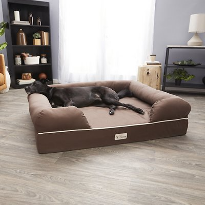 Petfusion Ultimate Lounge Memory Foam Bolster Cat Dog Bed W Removable Cover Brown Jumbo Chewy Com In 2021 Dog Bed Jumbo Dog Bed Dog Lounge