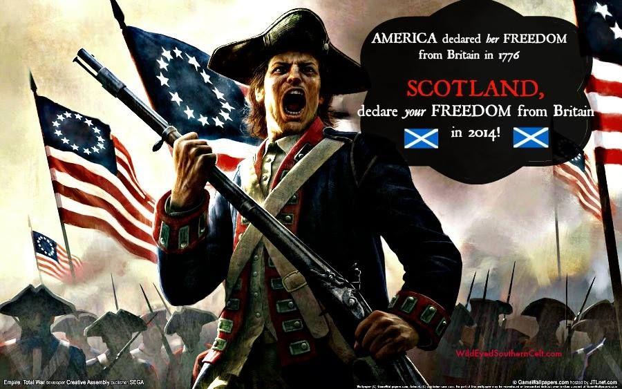 Freedom from Britain. Scotsland referendum for independance. Sept. 2014. Vote YES. -- Les américains se sont libérés en 1776. Libérons l'Ecosse en 2014.