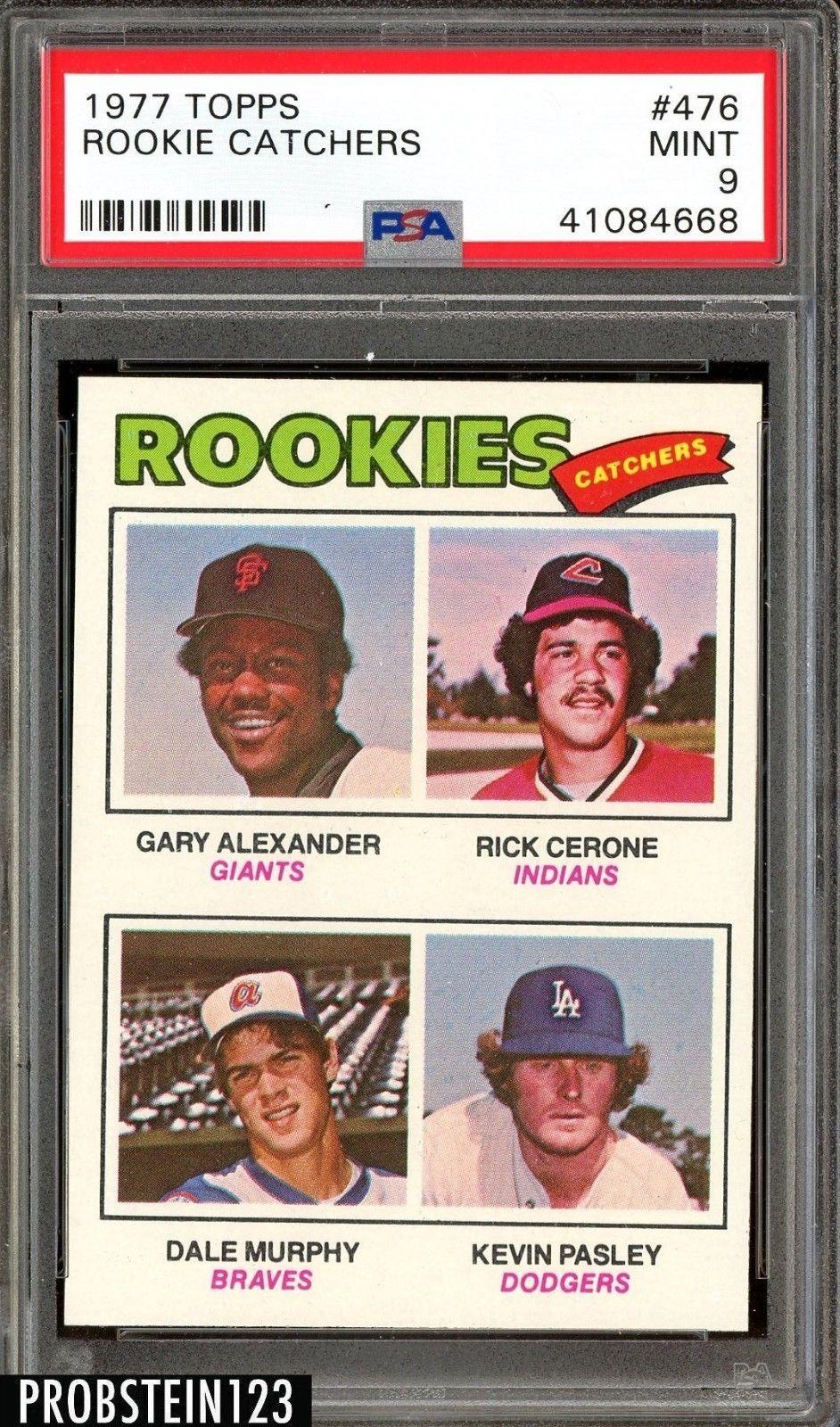 1977 topps 476 rookie catchers w dale murphy atlanta