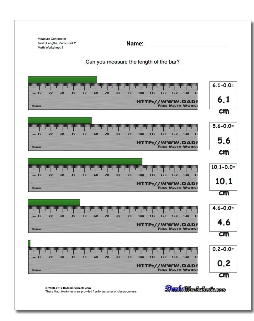 Measure Centimeter Tenth Lengths, Zero Start 2 Metric Measurement ...