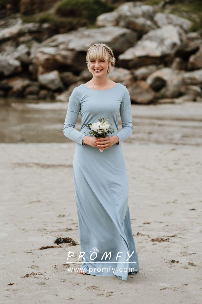 Simple Sheath Sleeved Dusty Blue Bridesmaid Dress Dusty Blue Bridesmaid Dresses Baby Blue Bridesmaid Dresses Bridesmaid Dresses With Sleeves [ 1200 x 800 Pixel ]