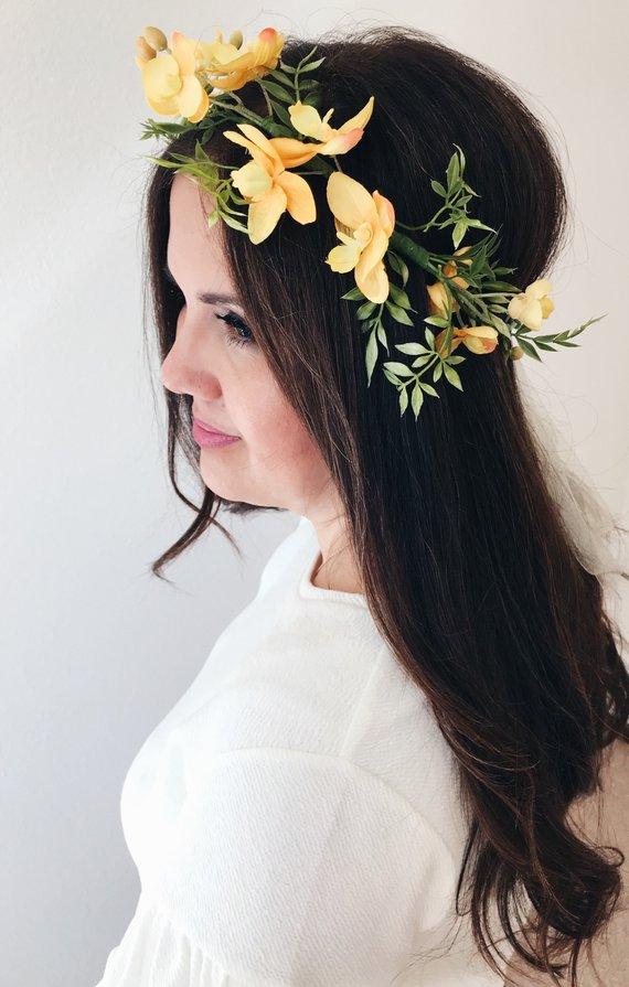 Yellow silk floral crown flower headpiece boho bohemian bride maternity mom  photoshoot free spirit c 5fe70c88f14