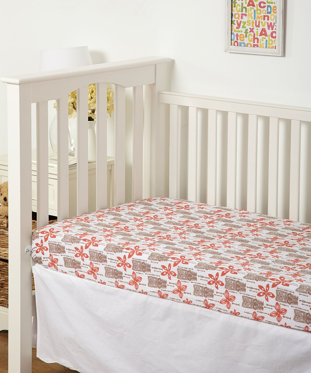 orange brown tiki organic muslin crib sheet orange brown crib