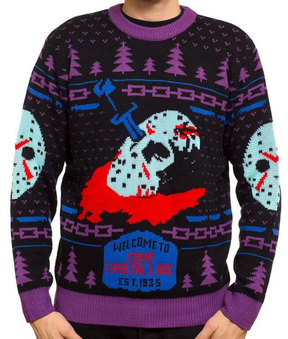 friday the 13th 8 bit glow in the dark knit sweater