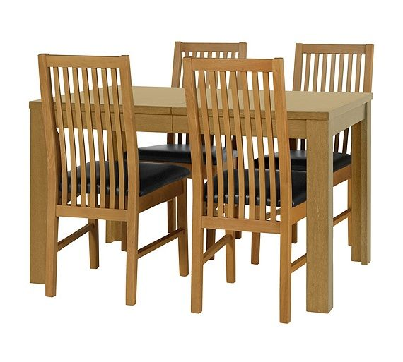 Buy HOME Penley Ext Dining Table and 4 Paris Chairs Oak Stain at