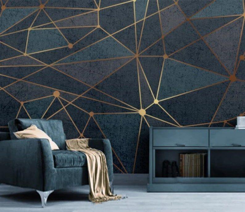Gold Lines Geometric Art Wallpaper Abstract Wall Mural Peel Etsy In 2021 Geometric Wall Custom Wallpaper Mural Wallpaper
