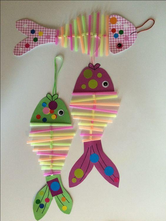 Strohhalm Fische Kinderbasteleien Bastelideen Kinder