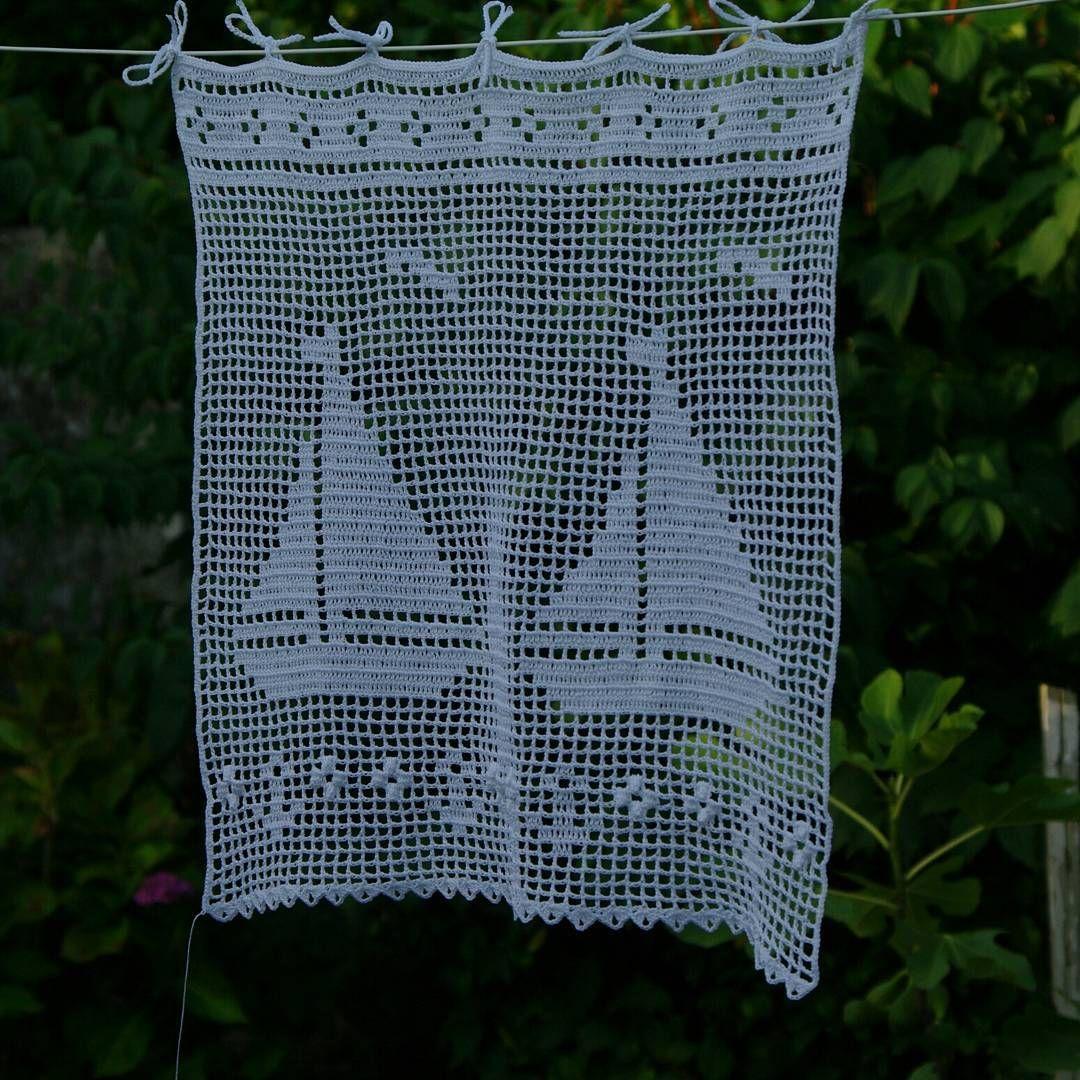 Rideau au crochet motifs bateaux style rideau breton plaids coussins rideaux au crochet - Faire ses rideaux au crochet ...