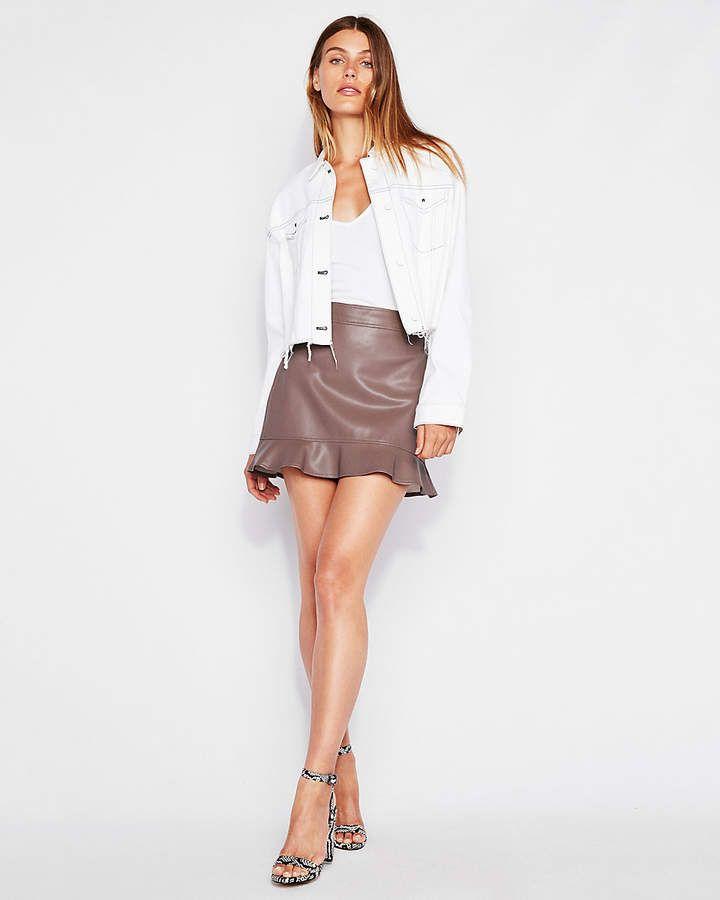 69e9267f0 Express Minus The) Leather Ruffle Hem Mini Skirt | Products | Mini ...