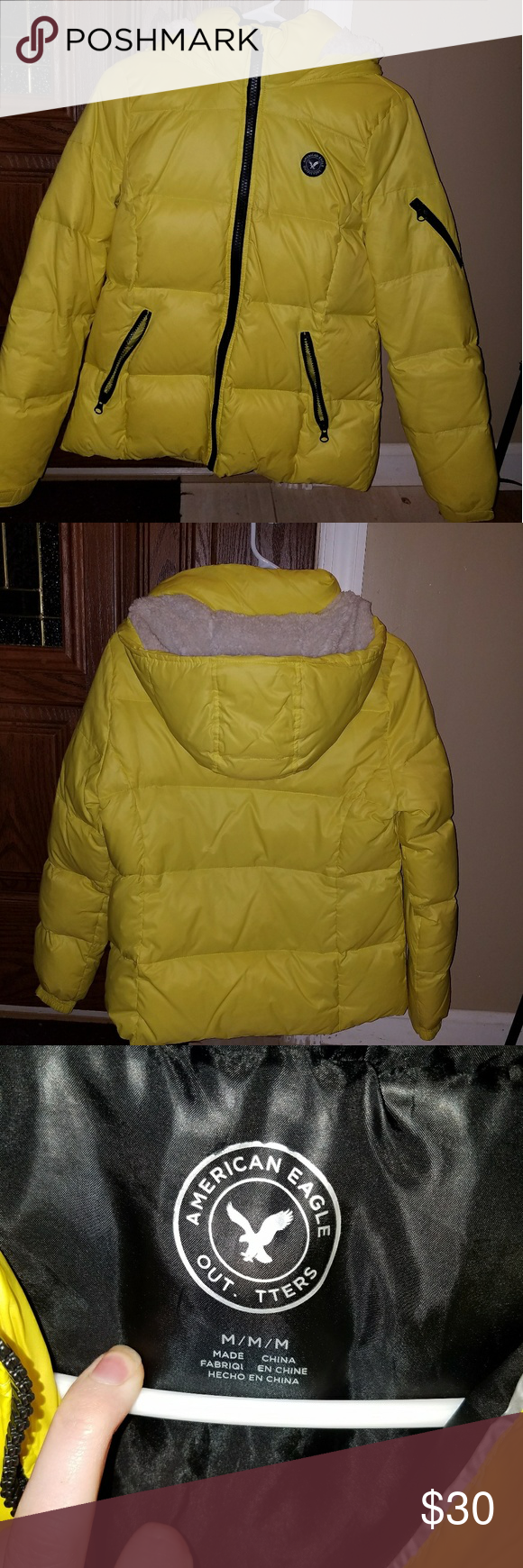 Yellow American Eagle Puffer Coat. Warm! Bright! Fun! GREAT CONDITION! Juniors/Womens. American Eagle Outfitters Jackets & Coats Puffers