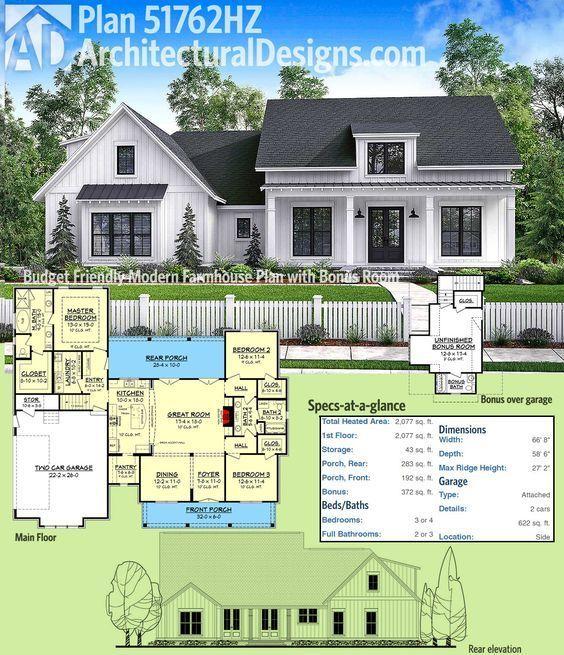 Plan 51762hz Budget Friendly Modern Farmhouse Plan With Bonus Room Modern Farmhouse Plans Farmhouse Plans House Plans