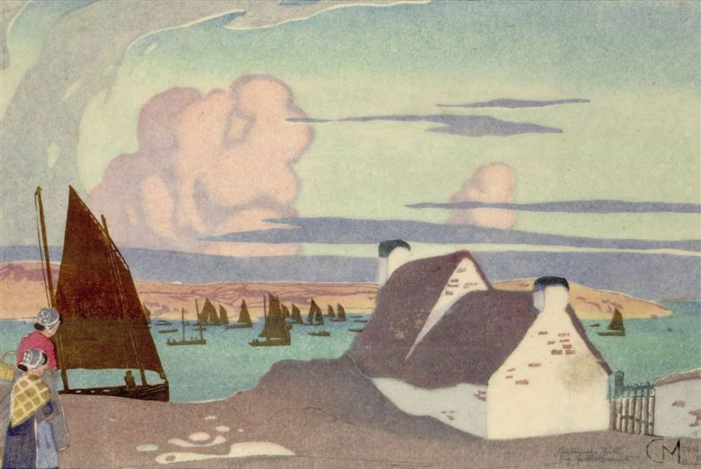 Carl Moser Cottage in Brittany 1904 Colour woodcut on washi