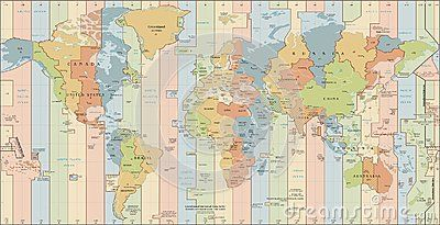 Time Zones Detailed World Map with countries and cities ...