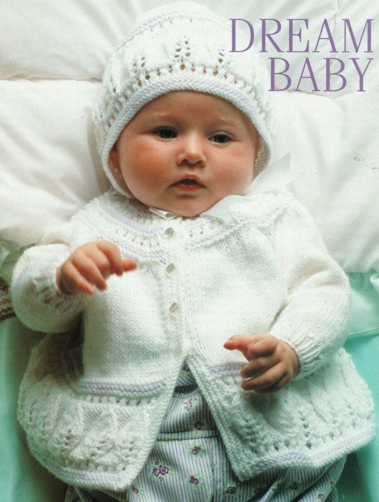 b540935c8 PDF Embossed Leaf Baby Toddler Matinee Jacket Bonnet 4 Ply 16 - 22 ...