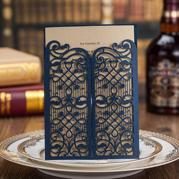 50 navy blue gate wedding invitation cards golden wedding