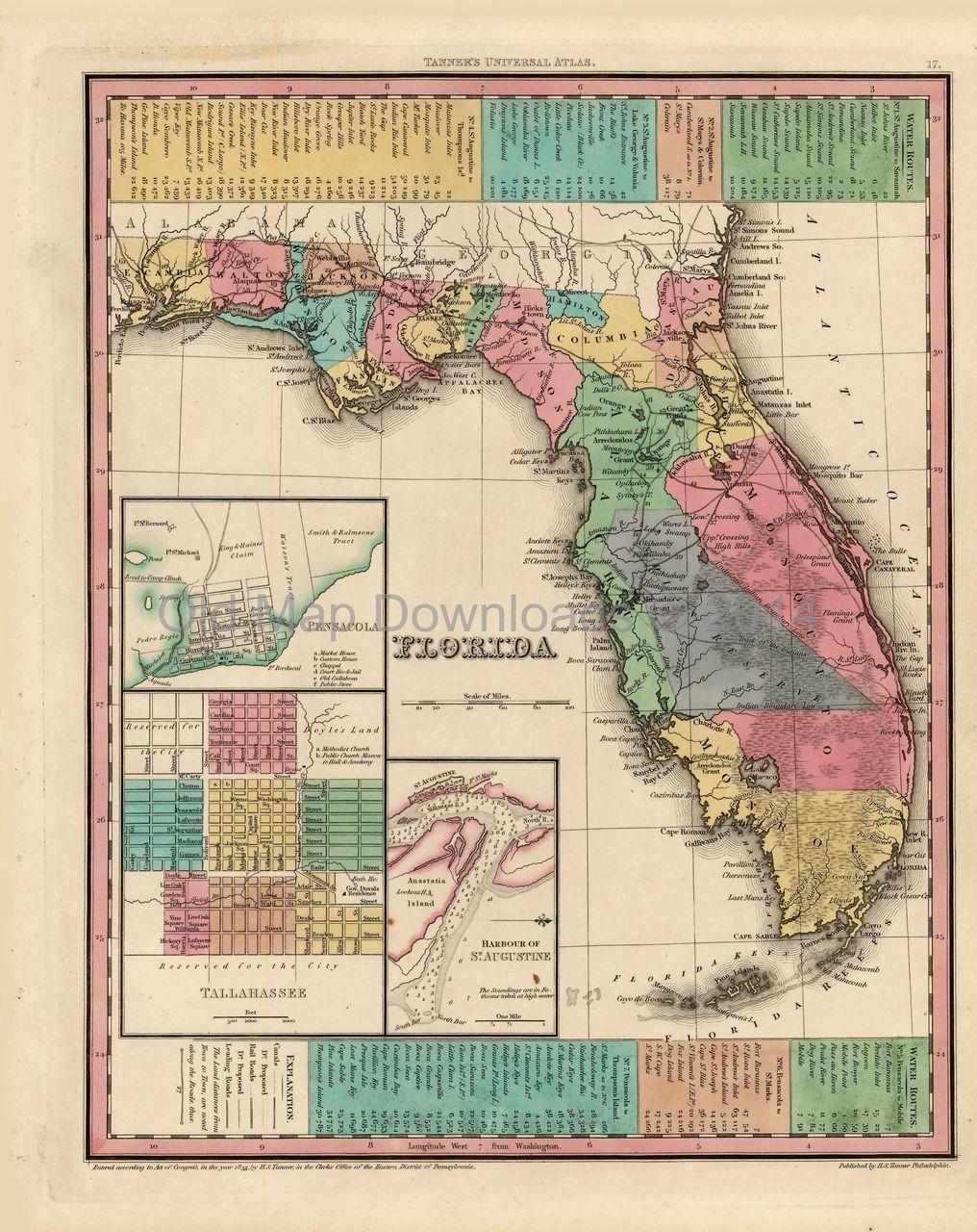 Florida Old Map Tanner 1836 Digital Image Scan Download Printable