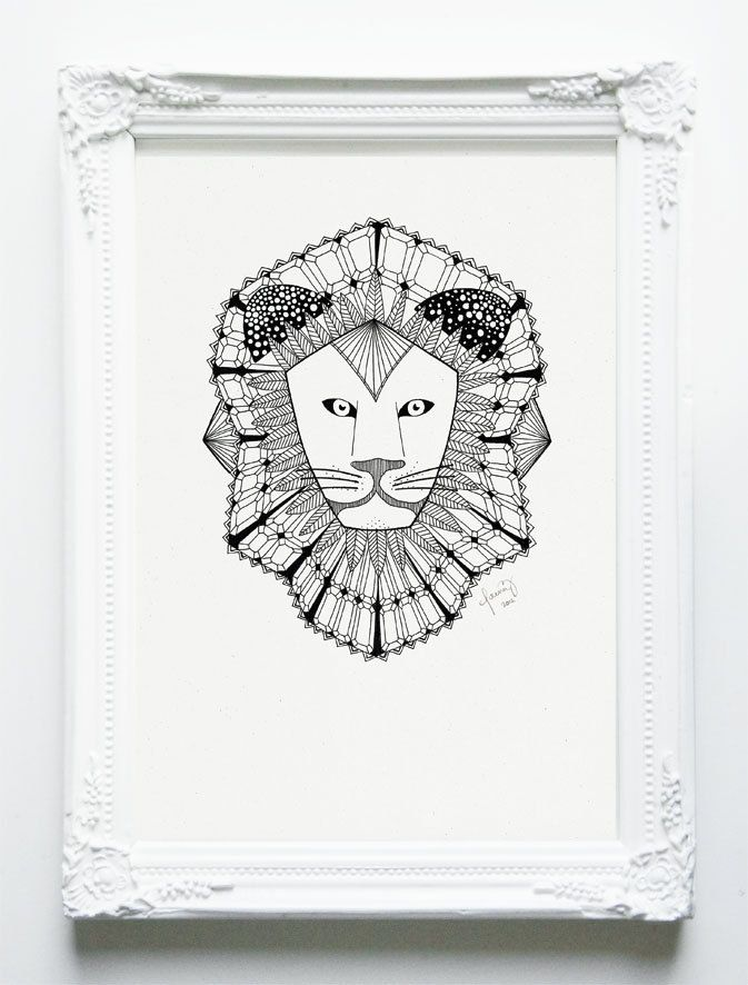 LION - Emerald Safari Series - Black and White A4 Print - Revive Recycled Paper. €18.00, via Etsy.