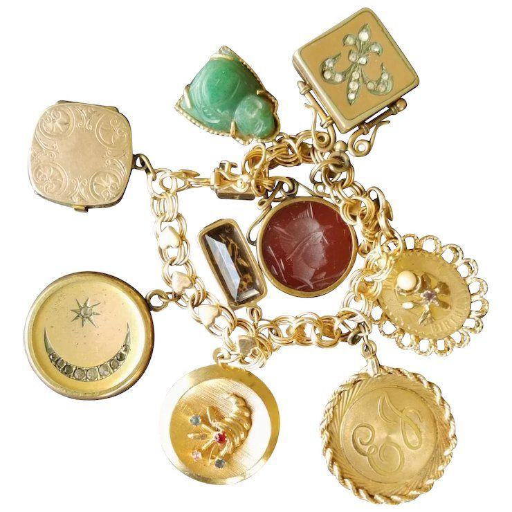 Vintage 14k Gold Charm Bracelet Fine Jewelry Necklace Gold Old Jewelry 14k Gold Charms