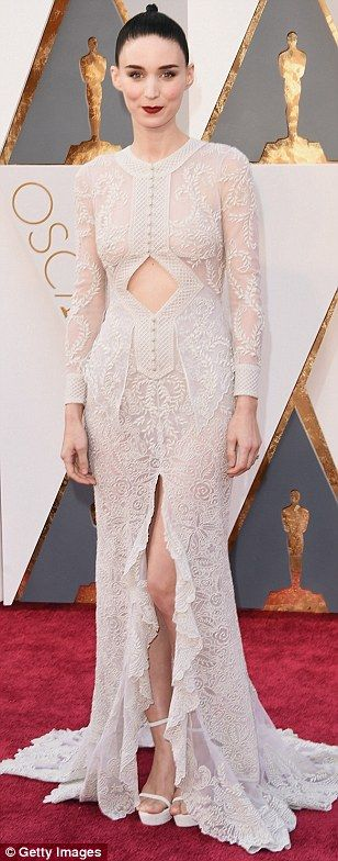 Rooney Mara picked a delicate off-white lace number by Givenchy