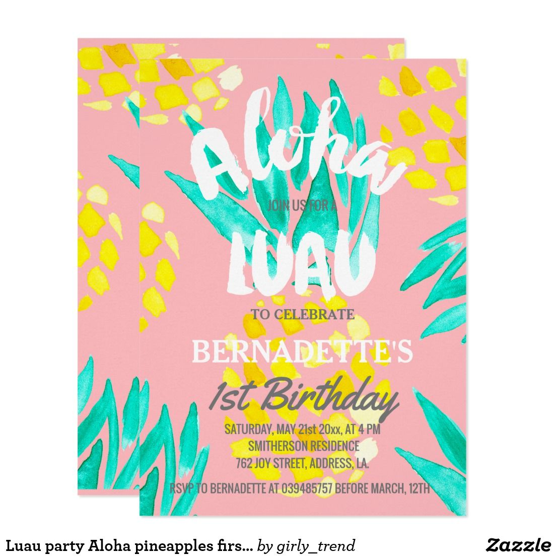Luau Party Aloha Pineapples First Birthday Card Invitations For
