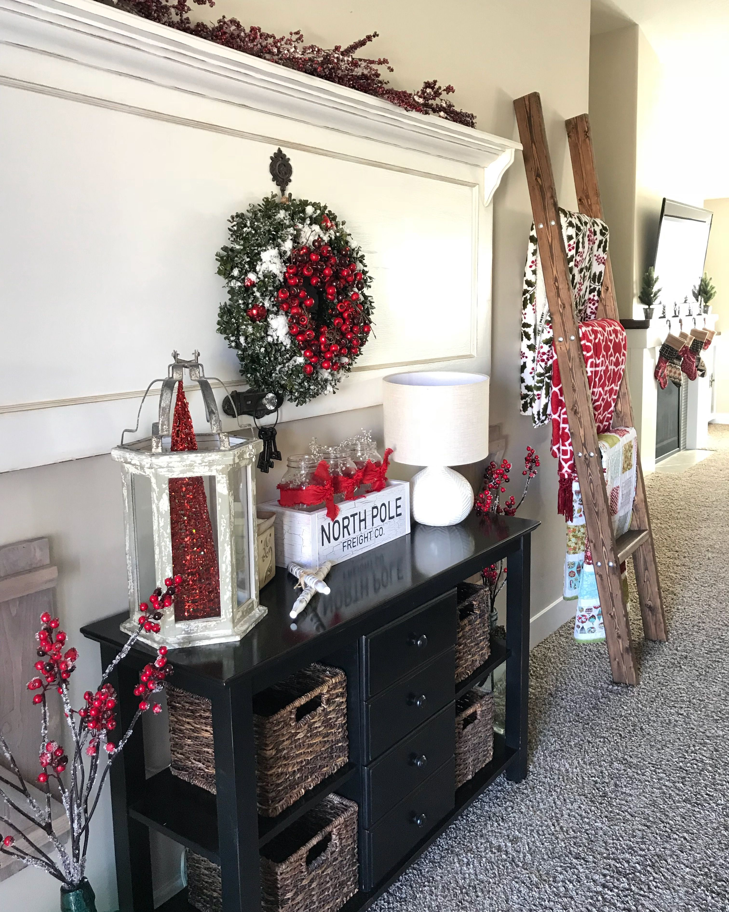 Christmas wood caddy North Pole express Wood ladder Old door