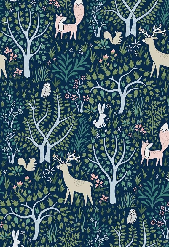 Woodland Forest Navy Removable Wallpaper 507 Nursery Wallpaper Removable Wallpaper Nursery Removable Wallpaper