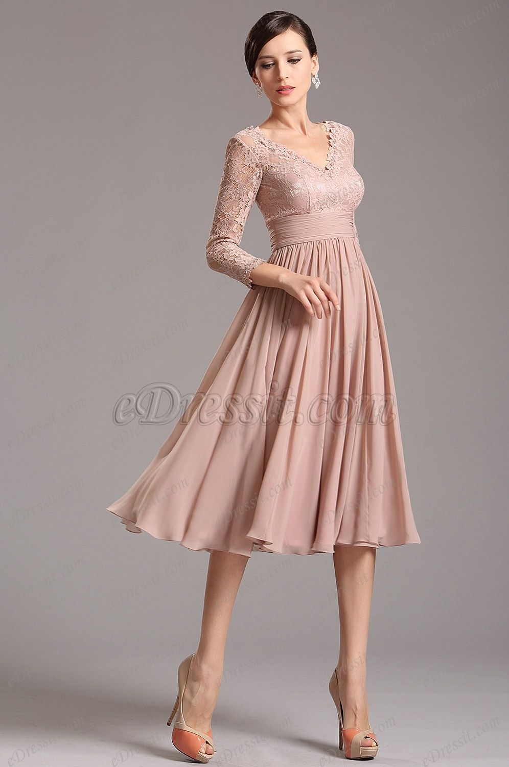 Rosy Brown Tea Length Cocktail Dress with Lace Sleeves (26160146) f58368300