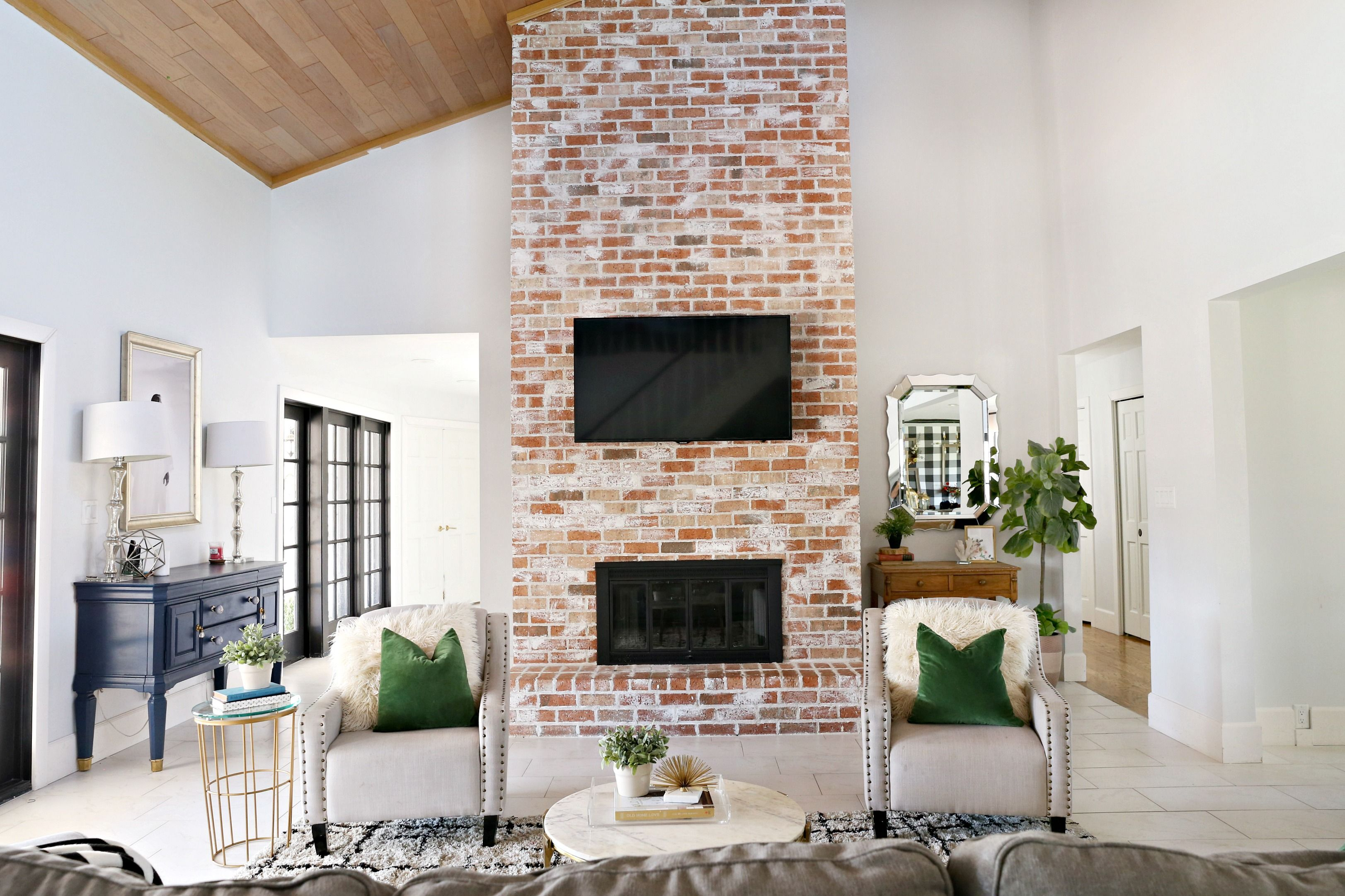 modern ranch reno how to re grout a brick fireplace modern ranch