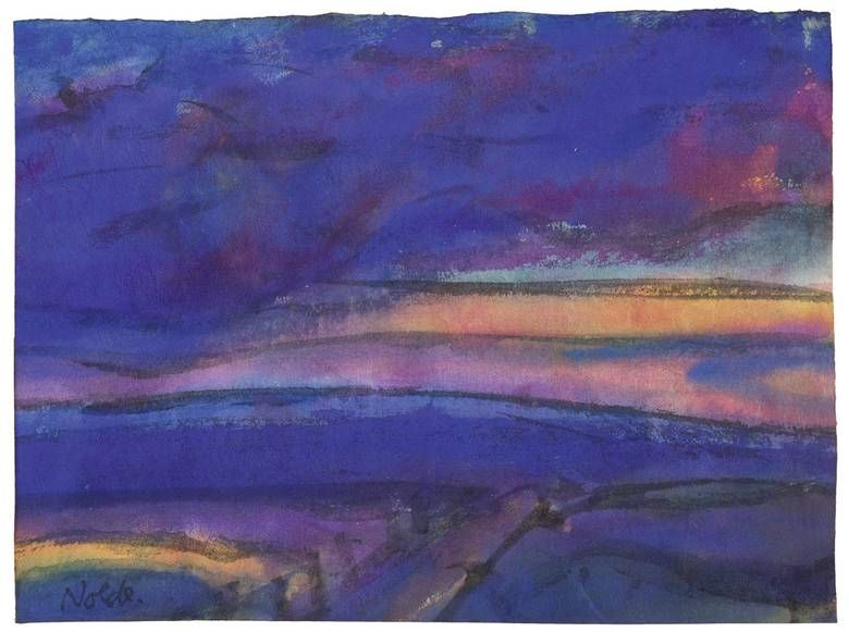 "Emil Nolde  Nolde 1867 – 1956 Seebüll     ""MARSCHLANDSCHAFT""  Circa 1930/40. Watercolour on Japan paper, laid down on cardboard.   14,7 x 19,5 cm (5 ¾ x 7 ⅝ in.)"