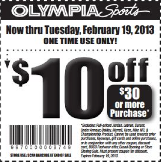 image regarding Olympia Sports Printable Coupons titled Olympia Sports activities: $10 off $30 Printable Coupon discount codes