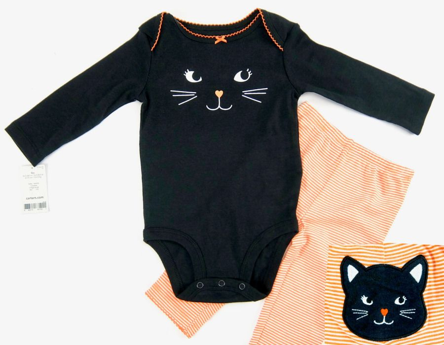 carters two piece halloween outfit orange white black cat cotton girl 9 month