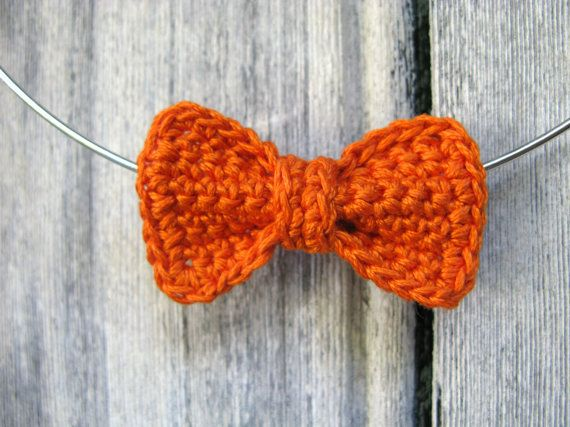 Crochet copper orange BOW necklace chocker by Chompa on Etsy, $25.00